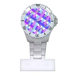 Geometric Plaid Gingham Diagonal Plastic Nurses Watch