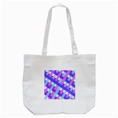 Geometric Plaid Gingham Diagonal Tote Bag (White)