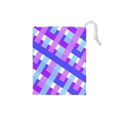 Geometric Plaid Gingham Diagonal Drawstring Pouches (Small)