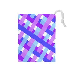 Geometric Plaid Gingham Diagonal Drawstring Pouches (Medium)