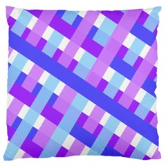 Geometric Plaid Gingham Diagonal Standard Flano Cushion Case (One Side)