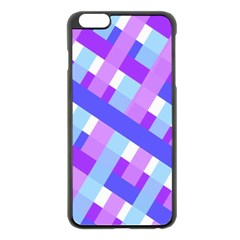 Geometric Plaid Gingham Diagonal Apple iPhone 6 Plus/6S Plus Black Enamel Case