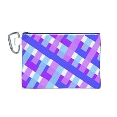 Geometric Plaid Gingham Diagonal Canvas Cosmetic Bag (M)