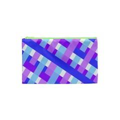 Geometric Plaid Gingham Diagonal Cosmetic Bag (XS)