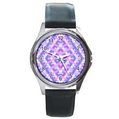 Geometric Gingham Merged Retro Pattern Round Metal Watch