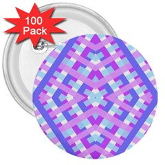 Geometric Gingham Merged Retro Pattern 3  Buttons (100 Pack)