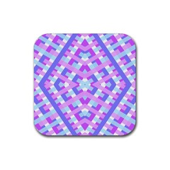 Geometric Gingham Merged Retro Pattern Rubber Square Coaster (4 pack)