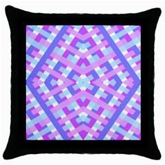 Geometric Gingham Merged Retro Pattern Throw Pillow Case (Black)