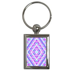 Geometric Gingham Merged Retro Pattern Key Chains (Rectangle)