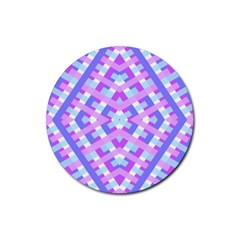 Geometric Gingham Merged Retro Pattern Rubber Coaster (round)