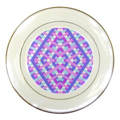 Geometric Gingham Merged Retro Pattern Porcelain Plates