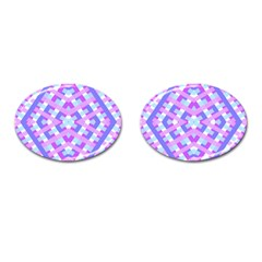 Geometric Gingham Merged Retro Pattern Cufflinks (oval)