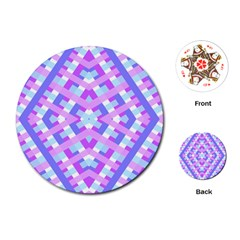 Geometric Gingham Merged Retro Pattern Playing Cards (Round)