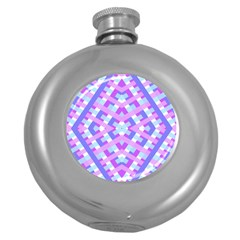 Geometric Gingham Merged Retro Pattern Round Hip Flask (5 oz)
