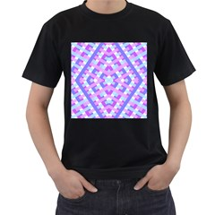 Geometric Gingham Merged Retro Pattern Men s T Shirt (black)