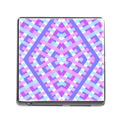 Geometric Gingham Merged Retro Pattern Memory Card Reader (square)