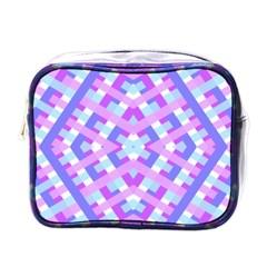 Geometric Gingham Merged Retro Pattern Mini Toiletries Bags