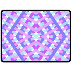 Geometric Gingham Merged Retro Pattern Fleece Blanket (large)