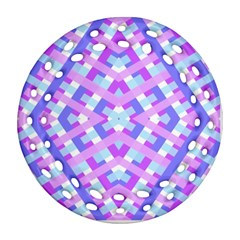 Geometric Gingham Merged Retro Pattern Round Filigree Ornament (two Sides)