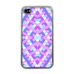 Geometric Gingham Merged Retro Pattern Apple iPhone 4 Case (Clear)