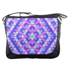 Geometric Gingham Merged Retro Pattern Messenger Bags