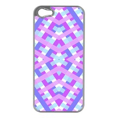 Geometric Gingham Merged Retro Pattern Apple Iphone 5 Case (silver)