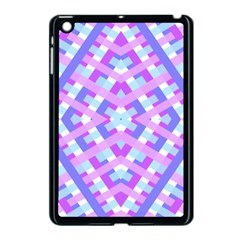 Geometric Gingham Merged Retro Pattern Apple Ipad Mini Case (black)