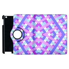 Geometric Gingham Merged Retro Pattern Apple iPad 3/4 Flip 360 Case