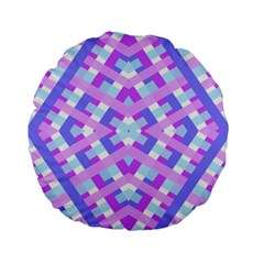 Geometric Gingham Merged Retro Pattern Standard 15  Premium Round Cushions