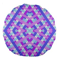 Geometric Gingham Merged Retro Pattern Large 18  Premium Round Cushions