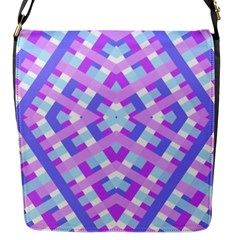Geometric Gingham Merged Retro Pattern Flap Messenger Bag (S)