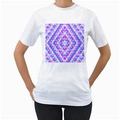 Geometric Gingham Merged Retro Pattern Women s T-Shirt (White)