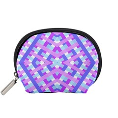 Geometric Gingham Merged Retro Pattern Accessory Pouches (Small)