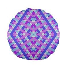 Geometric Gingham Merged Retro Pattern Standard 15  Premium Flano Round Cushions