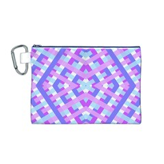Geometric Gingham Merged Retro Pattern Canvas Cosmetic Bag (M)