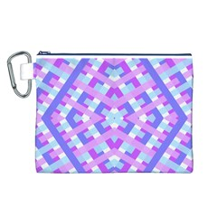 Geometric Gingham Merged Retro Pattern Canvas Cosmetic Bag (L)