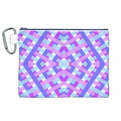 Geometric Gingham Merged Retro Pattern Canvas Cosmetic Bag (XL)