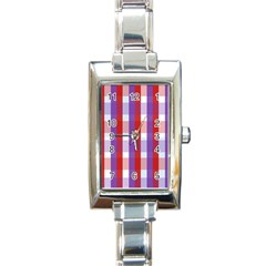 Gingham Pattern Checkered Violet Rectangle Italian Charm Watch
