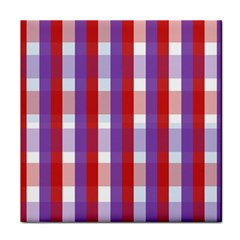 Gingham Pattern Checkered Violet Tile Coasters