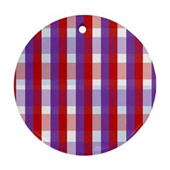 Gingham Pattern Checkered Violet Ornament (Round)