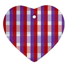 Gingham Pattern Checkered Violet Ornament (Heart)