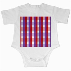 Gingham Pattern Checkered Violet Infant Creepers