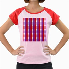 Gingham Pattern Checkered Violet Women s Cap Sleeve T-Shirt