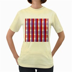 Gingham Pattern Checkered Violet Women s Yellow T Shirt