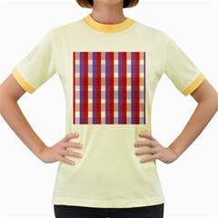 Gingham Pattern Checkered Violet Women s Fitted Ringer T-Shirts