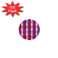 Gingham Pattern Checkered Violet 1  Mini Buttons (100 pack)