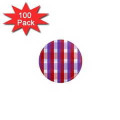 Gingham Pattern Checkered Violet 1  Mini Magnets (100 pack)