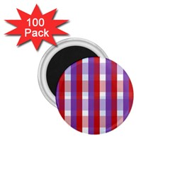 Gingham Pattern Checkered Violet 1 75  Magnets (100 Pack)