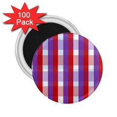 Gingham Pattern Checkered Violet 2 25  Magnets (100 Pack)