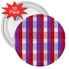 Gingham Pattern Checkered Violet 3  Buttons (10 Pack)